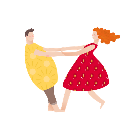 Husband and wife dancing in fruit dress Illustration