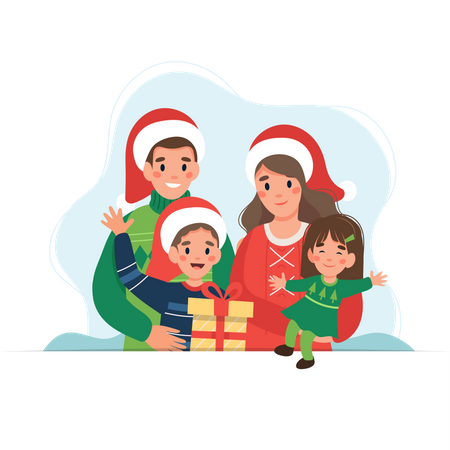 Husband and wife enjoying Christmas day with their children Illustration
