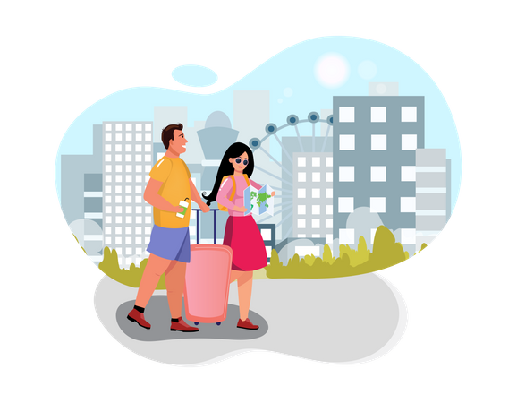 Husband and wife going for vacation Illustration