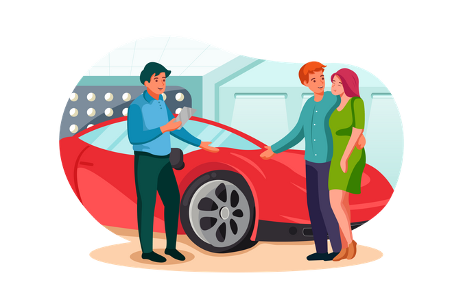 Husband and wife looking at sports car in showroom Illustration