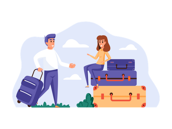 Husband and wife packing luggage for tour Illustration