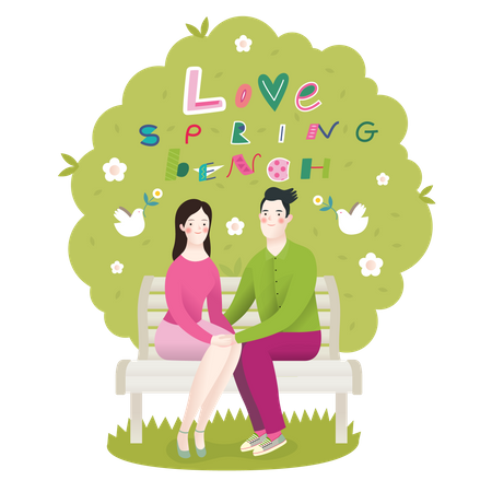 Husband and wife sitting on bench Illustration