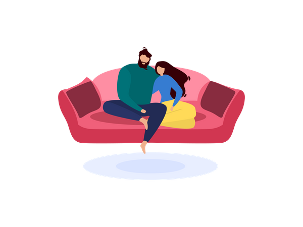Husband and wife sitting on couch Illustration