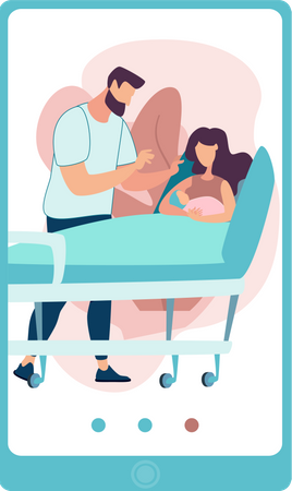 Husband caring his pregnant wife Illustration