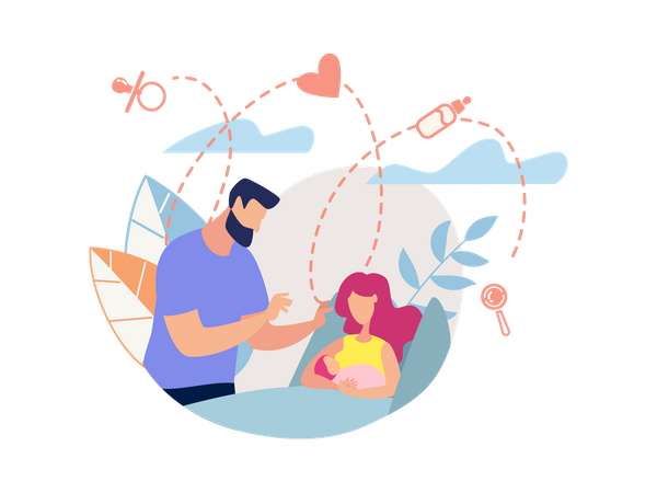 Husband caring his wife and new born baby Illustration