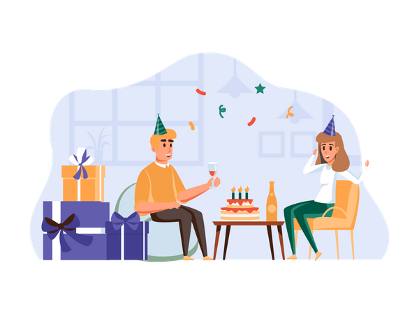 Husband celebrating wife's birthday Illustration