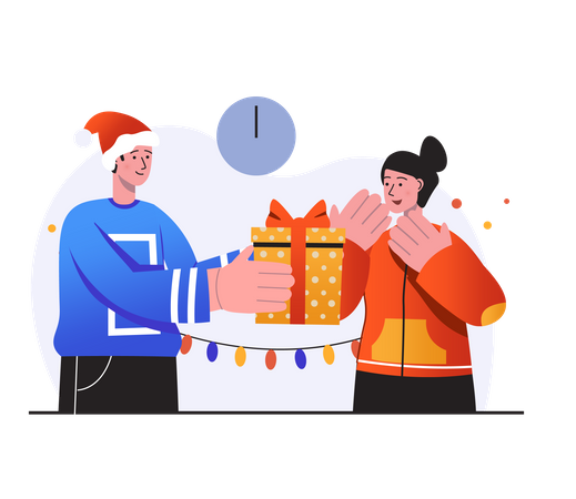 Husband giving Christmas present to her wife Illustration