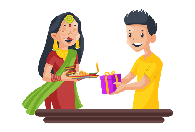 Husband giving gift to his wife Illustration