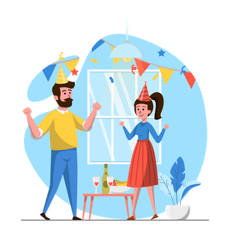 Husband giving surprise birthday party to wife Illustration