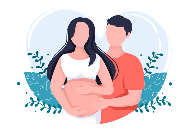 Husband touches belly of pregnant wife Illustration