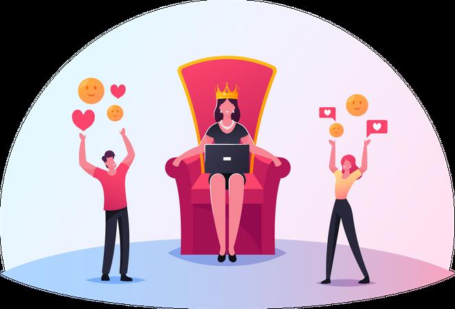 Hype blogging or social media networking Illustration