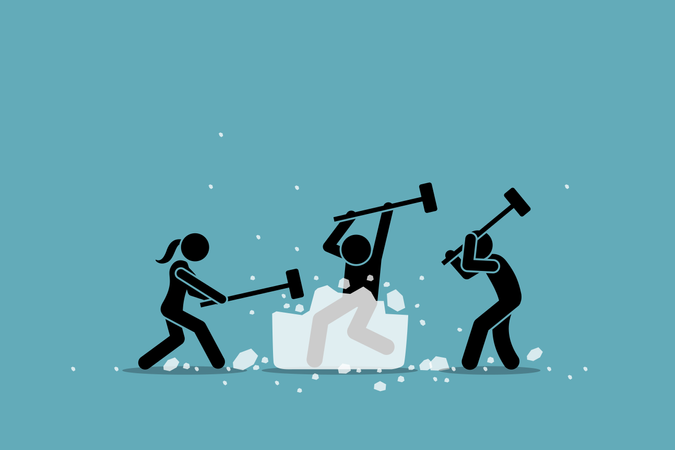 Ice breaking or icebreaker activity, game and event Illustration