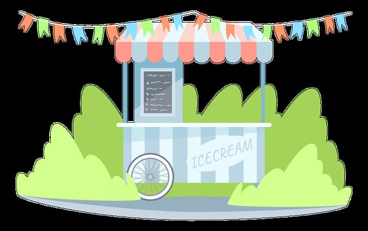Ice cream booth Illustration