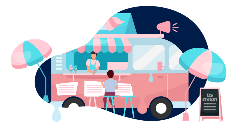 Ice cream food truck Illustration