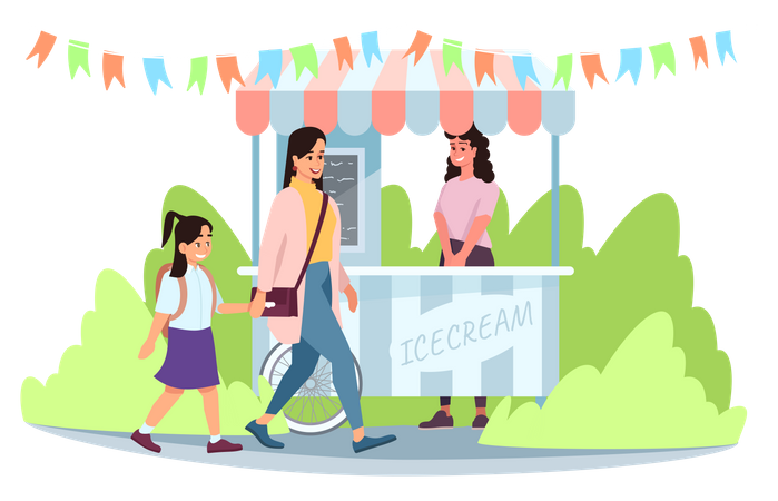 Ice cream street market cart with seller Illustration