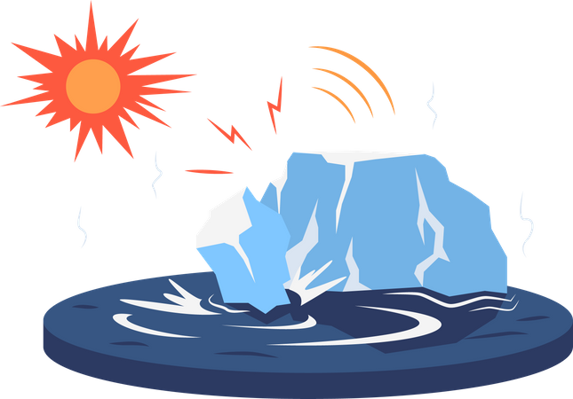 Iceberg breaking off glacier Illustration