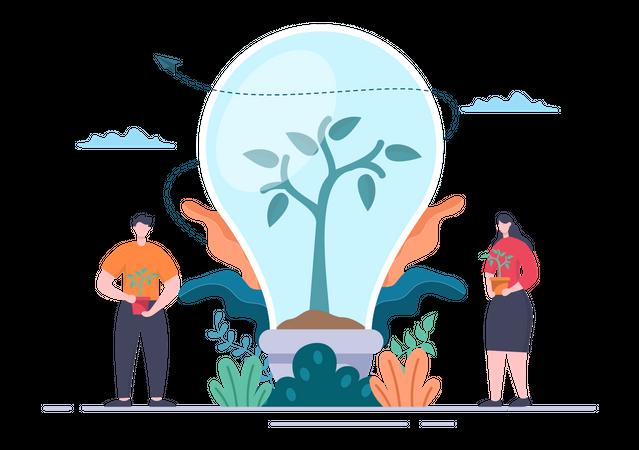 Idea of Tree Plantation Illustration