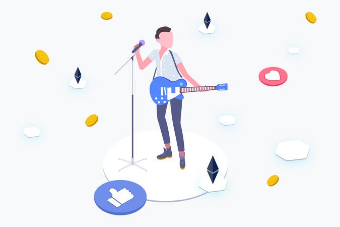 Idol with Blockchain Platform Illustration