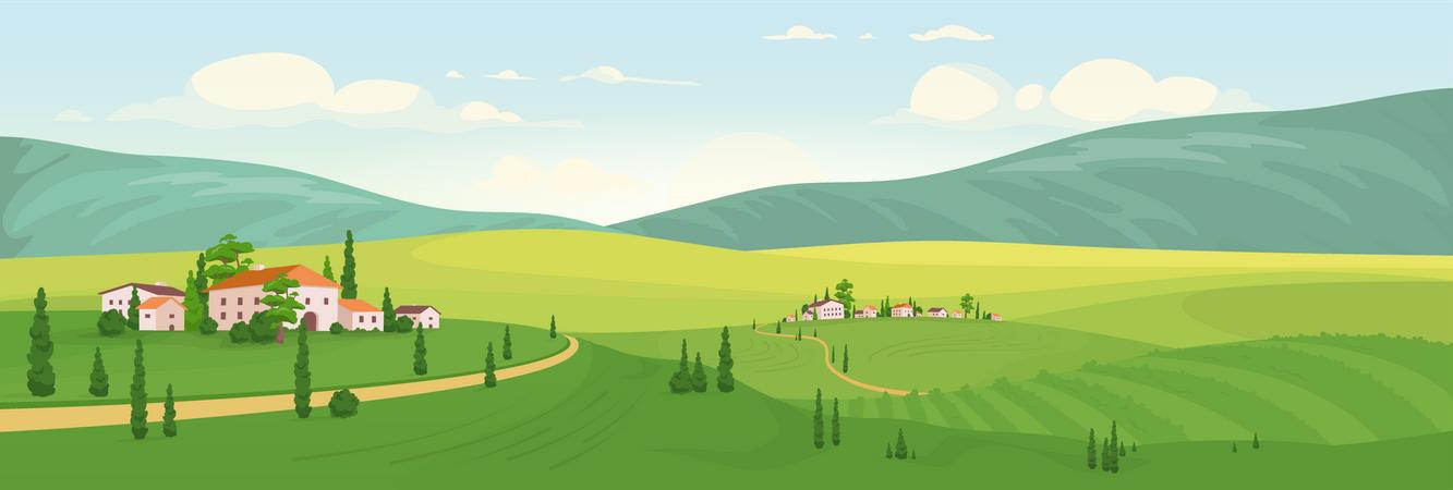 Idyllic Rural Scenery Illustration
