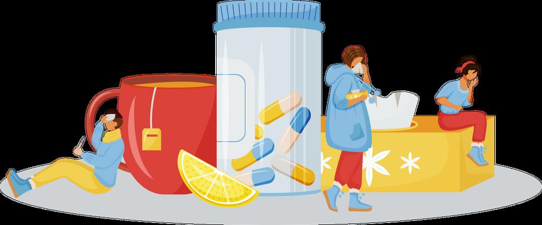 Illness treatment Illustration