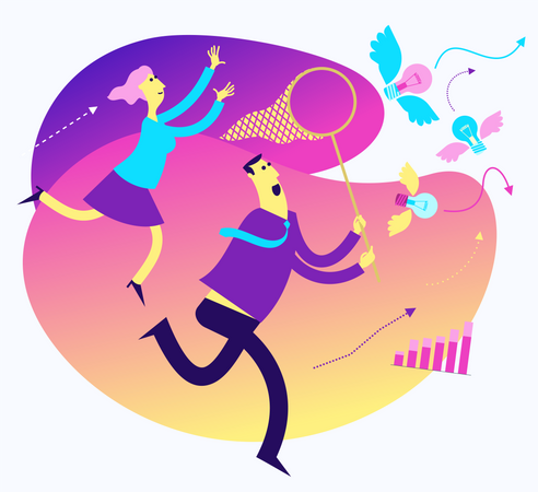 Illustration For Presentation, Web, Landing Page: A Man And A Woman Run And Catch The Ideas Of A Butterfly Net Illustration