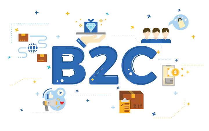 Illustration of business to customer concept (B2C) with flat icons Illustration