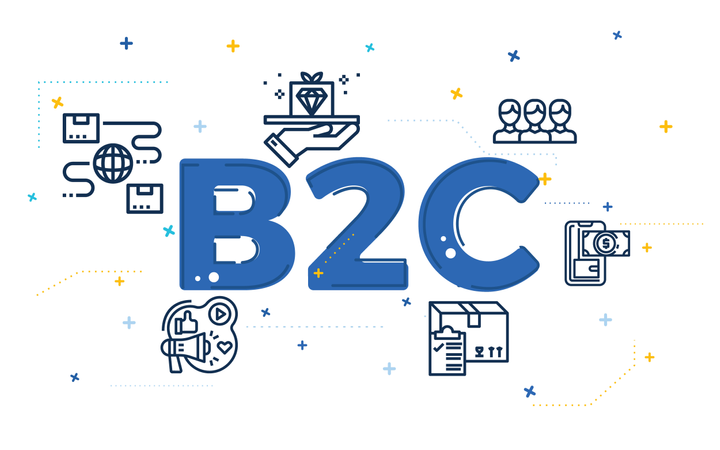 Illustration of business to customer concept (B2C) with outline icons Illustration
