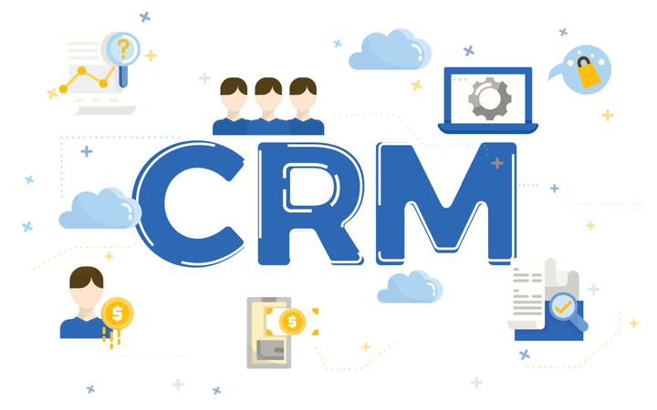 Illustration of customer relationship management concept (CRM) with flat icons Illustration