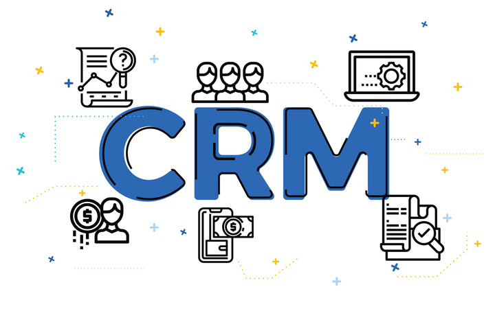 Illustration of customer relationship management concept (CRM) with outline icons Illustration