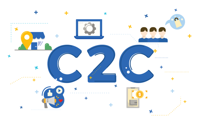 Illustration of customer to customer concept (C2C) with flat icons Illustration
