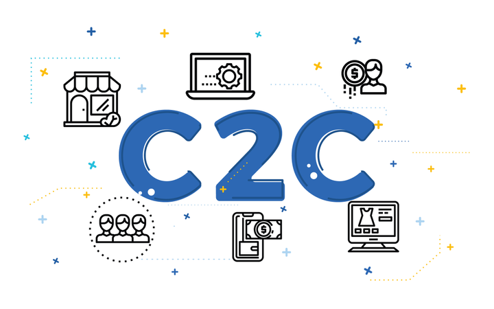 Illustration of customer to customer concept (C2C) with outline icons Illustration