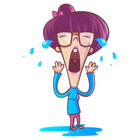 Illustration of cute girl is crying Illustration
