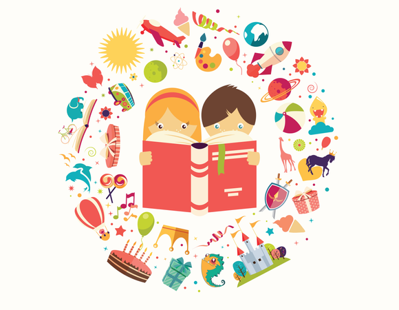Imagination concept, boy and girl reading a book objects flying out Illustration