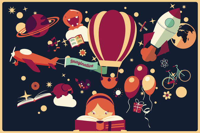 Imagination concept - girl reading a book with air balloon, rocket and airplane flying out, night sky Illustration