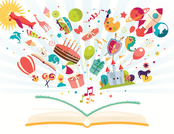 Imagination concept - open book with air balloon, rocket, airplane flying out Illustration