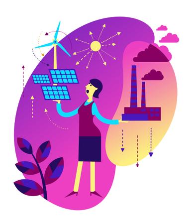 Increase alternative energy and decrease factory air Illustration