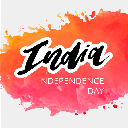 India Independence Day 15 august Lettering Calligraphy Illustration Illustration