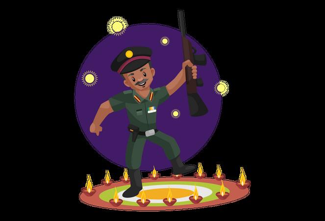 Indian army man celebrating festival Illustration