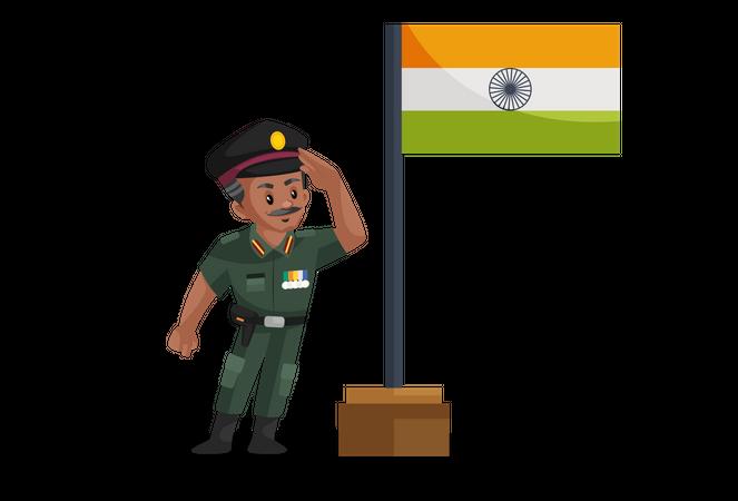 Indian army man celebrating independence day Illustration