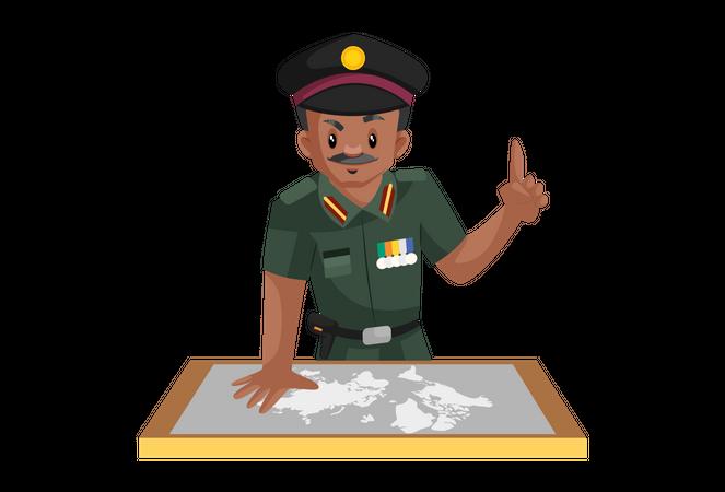 Indian army man watching map Illustration