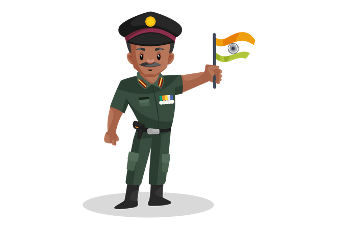 Indian army office holding Indian flag Illustration