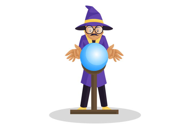 Indian astrologer gesturing at a glowing crystal ball Illustration