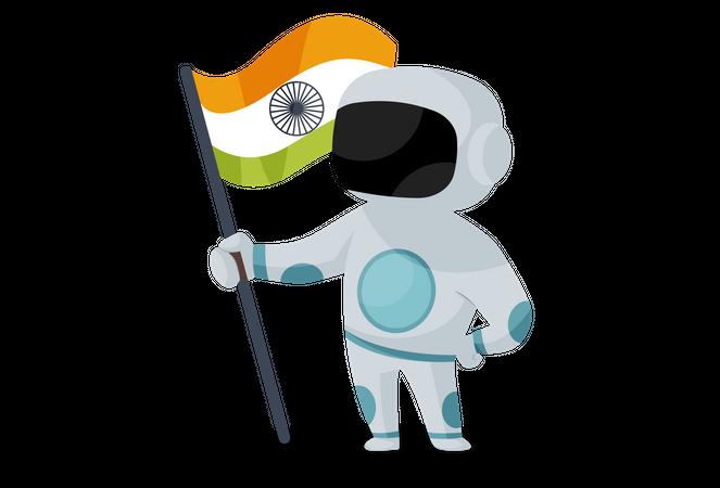 Indian astronaut holding Indian flag Illustration