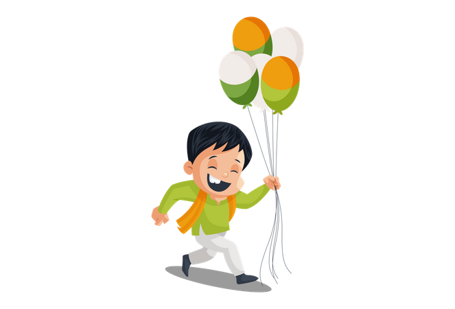 Indian Balloon Vendor with Indian Flag Illustration