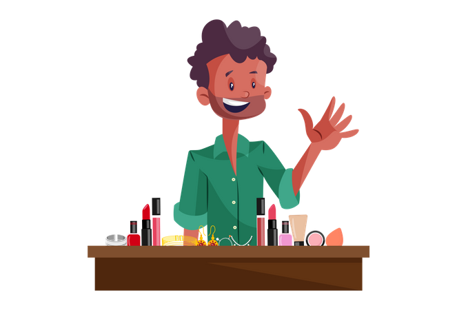 Indian Beauty Cosmetic Vendor Illustration