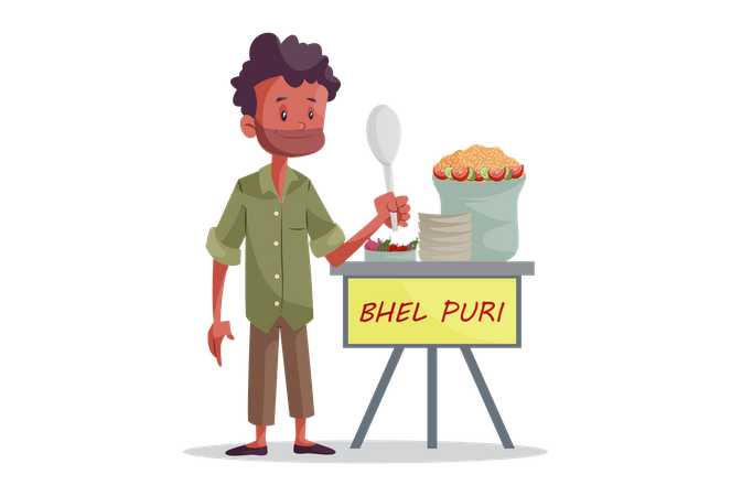 Indian Bhel Puri Vendor Illustration