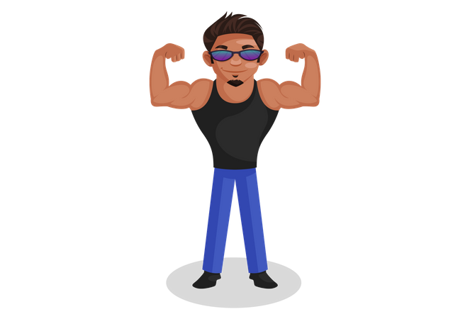 Indian bodybuilder showing his muscles Illustration
