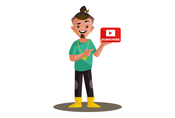 Indian boy is showing subscribe icon Illustration