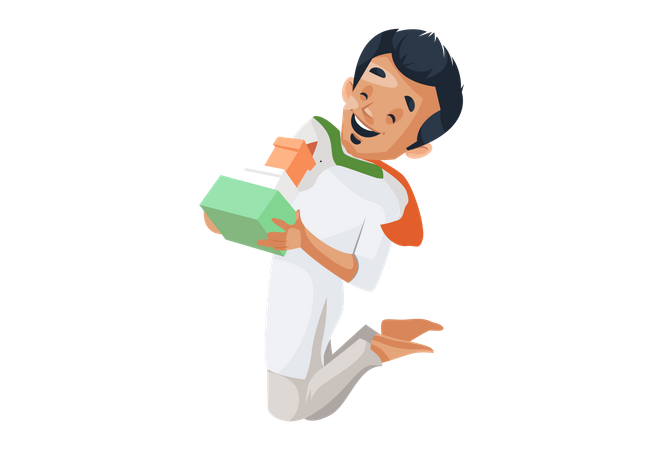 Indian boy jumping and holding gift in his hands Illustration