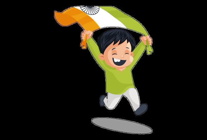Indian Boy running holding Indian flag Illustration